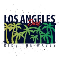 Los Angeles Surfing graphic with palms. T-shirt design and print.