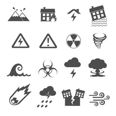disaster icons set vector
