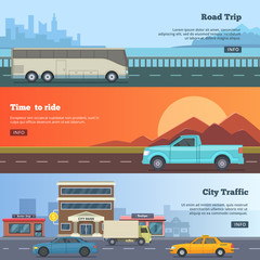 Horizontal banners with different cars. Road trip illustrations in cartoon style. Travel pictures with place for your text