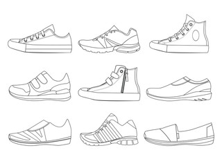 Illustrations of teenage shoes in linear style. Vector pictures of boots and sneakers