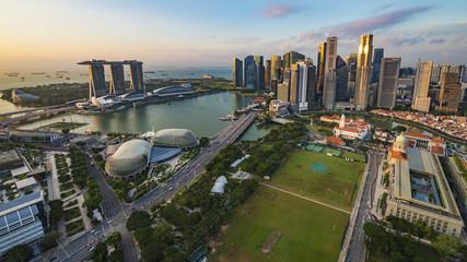 SINGAPORE - CIRCA APRIL 2015: City skyline, Marina Bay and Raffles Place