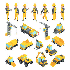 Transport and workers for construction buildings. Vector pictures in isometric style