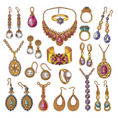Colored hand drawn pictures of luxury vintage jewelry