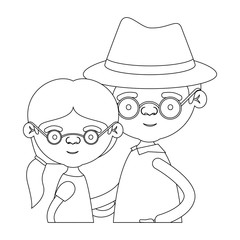 sketch silhouette of half body couple elderly of grandmother with ponytail side hair with grandfather with hat and glasses