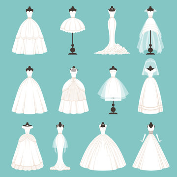 Different styles of brides dresses. Vector illustration in cartoon style