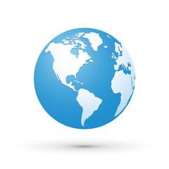 world map blue white illustration globe America