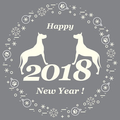 Cute vector illustration of two dogs and inscription happy new year around the balls with footmarks and snowflakes. Winter theme.