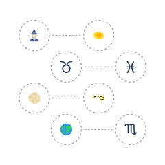 Flat Icons Fishes, Earth Planet, Space And Other Vector Elements. Set Of Astronomy Flat Icons Symbols Also Includes Taurus, Cosmos, Globe Objects.