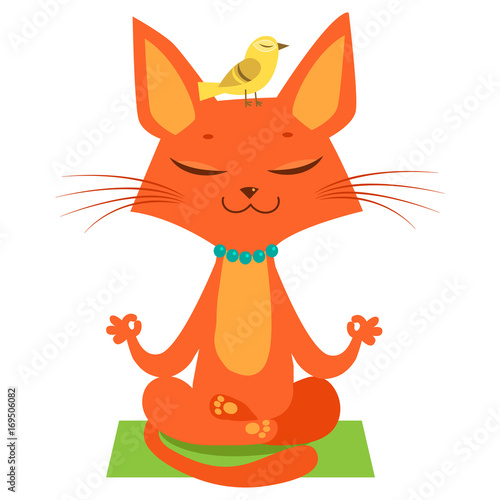 Meditating Yoga Cat Vector Funny Cartoon Practicing Join In Session
