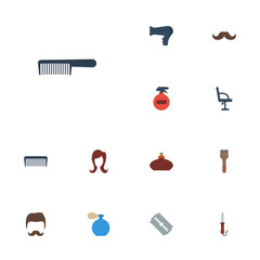 Flat Icons Blow-Dryer, Female, Razor And Other Vector Elements. Set Of Barber Flat Icons Symbols Also Includes Hairdresser, Deodorant, Brush Objects.