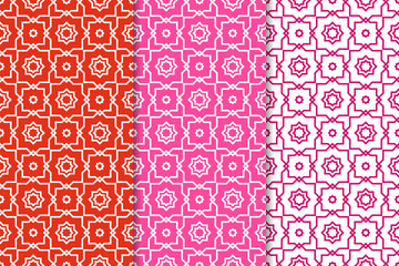 Geometric backgrounds. Set of red and pink seamless patterns
