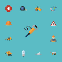 Flat Icons Pneumatic, Hardhat, Excavator And Other Vector Elements. Set Of Construction Flat Icons Symbols Also Includes Headwear, Workman, Handcart Objects.