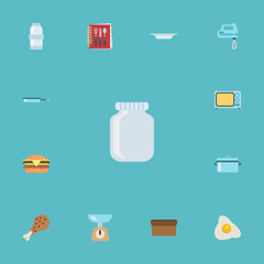 Flat Icons Glass Container, Skillet, Fried Poultry And Other Vector Elements. Set Of Kitchen Flat Icons Symbols Also Includes Omelette, Leg, Scales Objects.