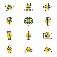 Vector Illustration Of 12 Summer Icons. Editable Pack Of Anti-Sun Cream, Swimwear, Palm And Other Elements.