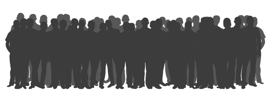 vector, isolated crowd of people