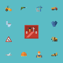 Flat Icons Toolkit, Excavator, Steamroller And Other Vector Elements. Set Of Construction Flat Icons Symbols Also Includes Valve, Plumbing, Roller Objects.