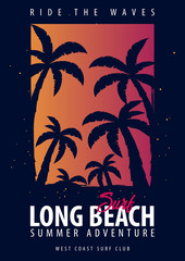 Long Beach Surfing graphic with palms. T-shirt design and print.