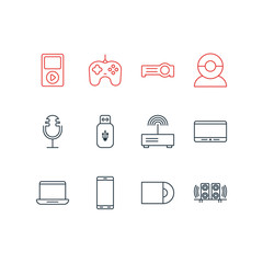 Vector Illustration Of 12 Accessory Icons. Editable Pack Of Loudspeaker, Video Chat, Computer And Other Elements.