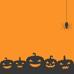 Halloween background with jack o lantern pumpkin, cobweb and spider, design in vintage style for poster, invitation  or greeting card