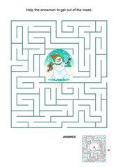 Maze game or activity page for kids: Help the snowman to get out of the maze. Answer included.