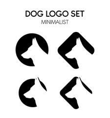 Dog or wolf logo set - Isolated vector Illustration