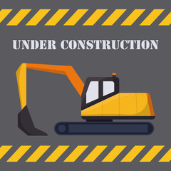backhoe icon over gray background colorful design vector illustration
