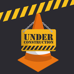 caution cone with under construction sign icon over black background colorful design vector illustration