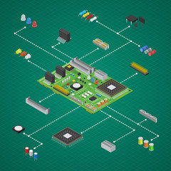 Computer Electronic Circuit Board Component Set Isometric View. Vector