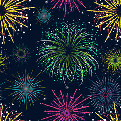 Color Celebration Fireworks Background Pattern. Vector