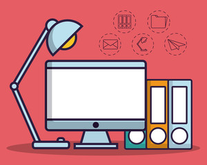 computer and office elements icon over red background colorful design vector illustration