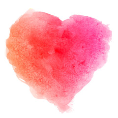 Watercolor pink red hand drawn paper texture isolated heart shaped stain on white background for valentines day. Abstract aquarelle vector illustration in grunge style. Wet brush romantic painting.