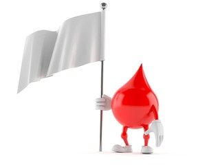 Blood drop character with blank flag