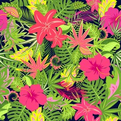 Seamless floral wallpaper with exotic flowers, palm leaves and tropical leaves