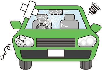 故障した車(緑)
