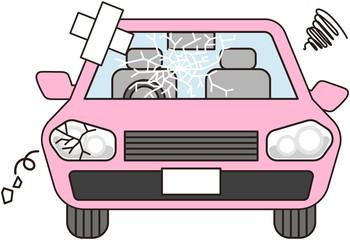 故障した車(ピンク)