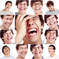 Laughing face collage