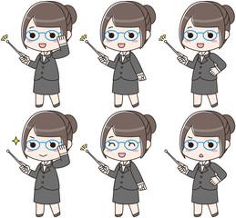 指し棒を持つ眼鏡の女性 セット 笑顔 怒り