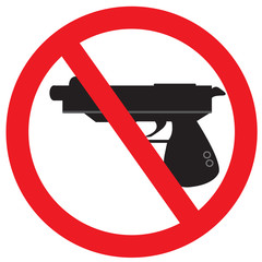 No gun sign symbol on isolated white background with simple vector design