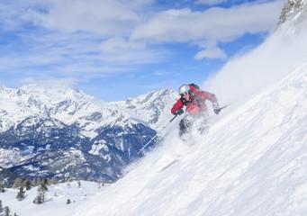 spektaulär skifahren im Steilhang