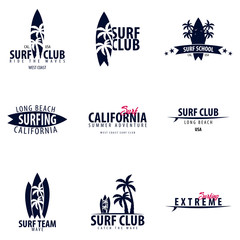 Set of Surfing logo and emblems for Surf Club or shop. Vector illustration.