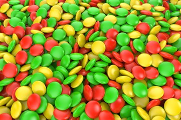 Sweet colorful candy. Candy variation color texture or background. 3D render.