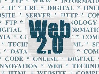 Web development concept: Web 2.0 on wall background