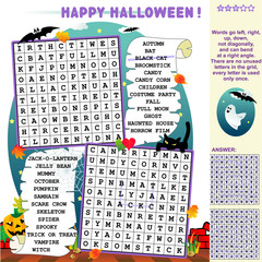 Halloween word search puzzle, answer included