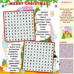 Christmas word search puzzle, answer included
