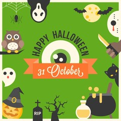 Happy halloween typographic with 31 october calligraphic eye ball and cute charactor