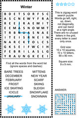 Winter themed zigzag word search puzzle (suitable both for kids and adults). Answer included.
