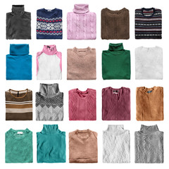 Folded sweaters isolated