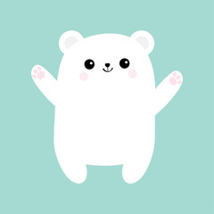 Polar white small little bear cub. Reaching for a hug. Cute cartoon baby character icon. Open hand ready for a hugging. Arctic animal collection. Flat design. Winter blue background. Isolated.