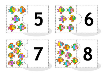 Learn counting 2-part puzzle cards to cut out and play, fish themed, numbers 5 - 8