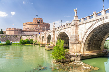Wall Mural - The Mausoleum of Hadrian, usually known as Castel Sant'Angelo (Castle of the Holy Angel) and Sant' Angelo Bridge. Rome. Italy.